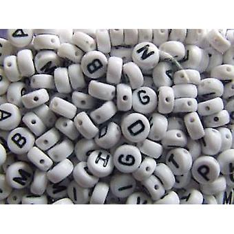 6mm White Alphabet Letter Beads for Kids Crafts -400pk | Childrens Craft Beads