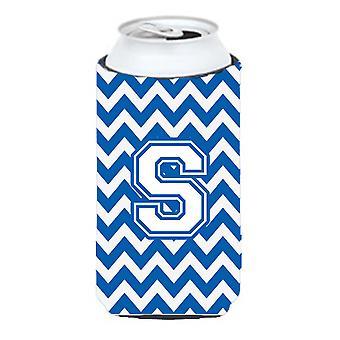 Litera S Chevron niebieski i biały wysoki chłopiec napojów izolator Hugger