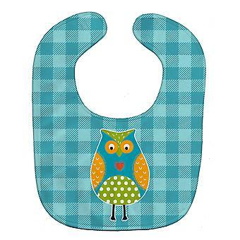 Carolines Treasures  BB6755BIB Owl on Blue Plaid Baby Bib