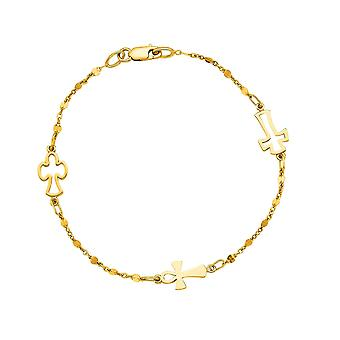 14K Yellow Gold Cable Chain Bead And Cross Bracelet, 7