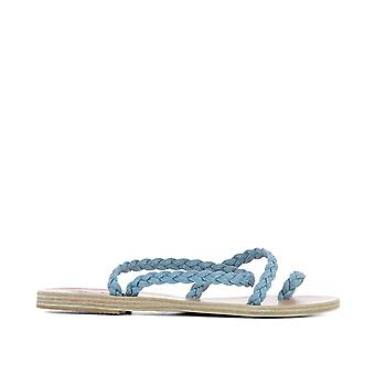 Ancient Greek Sandals ladies ELEFTHERIALIGHT light blue fabric sandals