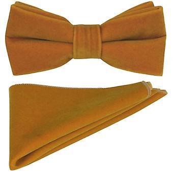 Luxury Dark Gold Velvet Bow Tie & Pocket Square Set