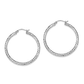 925 Sterling Silver Hollow Round Hoop Earrings - 40mm