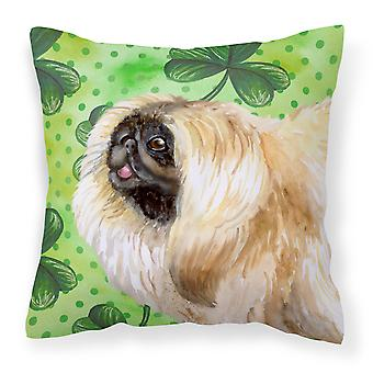 Pekingese St Patrick's Fabric Decorative Pillow