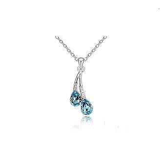 Waterdrop Pendant Necklace Silver and Blue