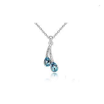Vattendroppe hänge halsband Silver och blå