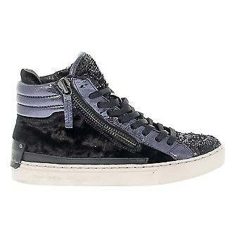 Crime London ladies 25325A1720 blue/black leather Hi Top sneakers