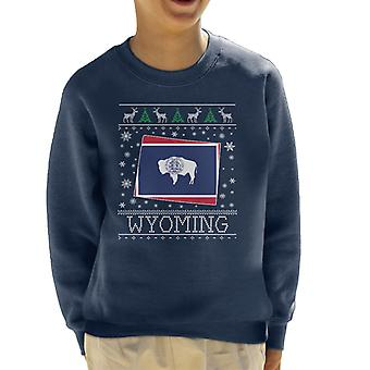 Wyoming Christmas Knit Pattern Kid's Sweatshirt