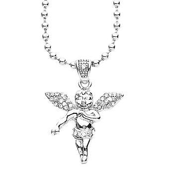 Iced Out Bling Fashion Kette - MICRO ENGEL silber