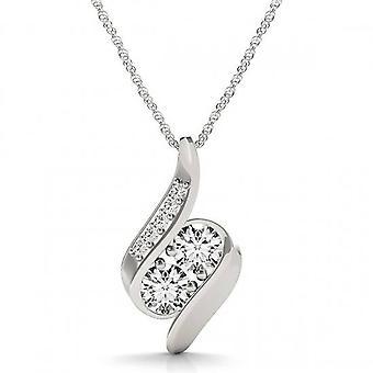 1 قيراط إلى الأبد لنا اثنين الحجر الطبيعي الماس قلادة 10 كيلو الذهب الأبيض & 18
