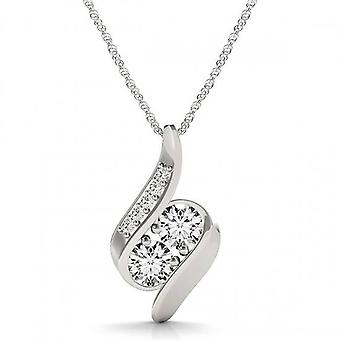 1ct Forever Us Two Stone Natural Diamond Pendant 10K White Gold & 18