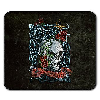 Rose Skeleton Death Skull  Non-Slip Mouse Mat Pad 24cm x 20cm | Wellcoda