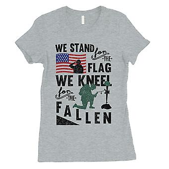 We Stand We Kneel Womens Grey T-Shirt Army Family Veterans Shirt