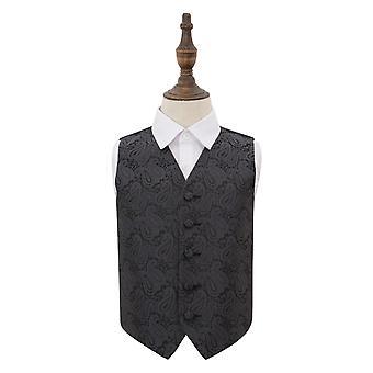 Charcoal Grey Paisley Wedding Waistcoat for Boys