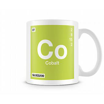 Element symbool 027 Co - Cobalt afgedrukt mok