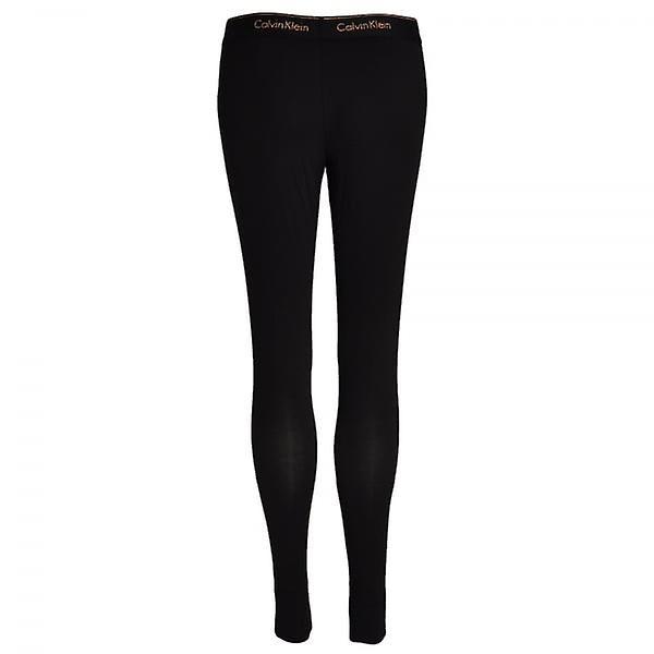 Calvin Klein Women Modern Cotton Legging, Black With Stencil Logo Rose Gold Glitter, Medium