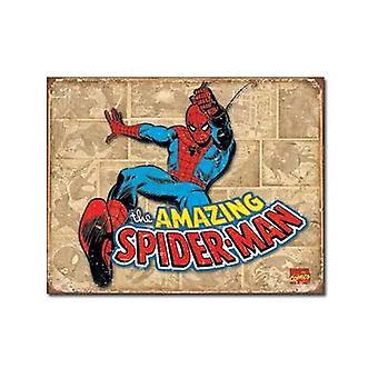 Spiderman Retro (Panel Bgrd) Blechschild