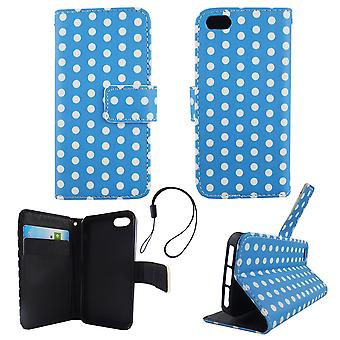 Mobile phone case pouch for phone Apple iPhone 5 / 5 s / SE Polka Dot Blau white