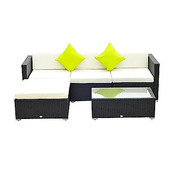 Outsunny 5 Pieces Rattan Sofa Set Wicker Garden Sectional Furniture Cushion Patio Black