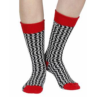 Terwilliger recycled cotton patterned crew socks in crimson | By Sidekick