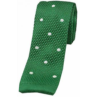 David Van Hagen Polka Dot Thin Knitted Tie - Emerald Green/White