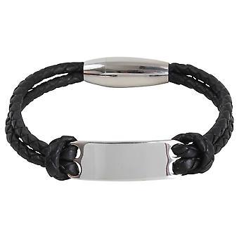 David Van Hagen dubbel geweven gravure plaat armband - zwart/zilver