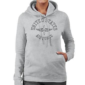 US Airforce Winged Propeller Black Text Women's Hooded Sweatshirt