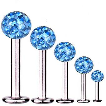 Labret Bar Tragus Piercing Titan 1,2 mm, Multi Kristall Kugel hellblau | 5-12