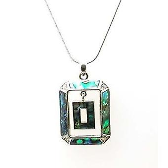 The Olivia Collection Women Paua Shell Double Rectangle Pendant On 18