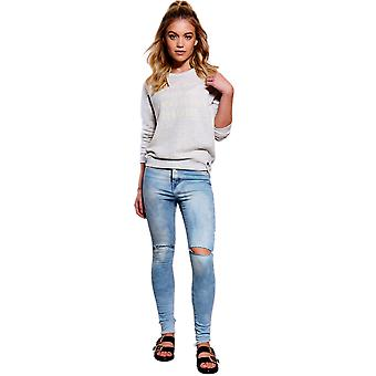Lovemystyle Washed Blue Jeans With Knee Slits - SAMPLE