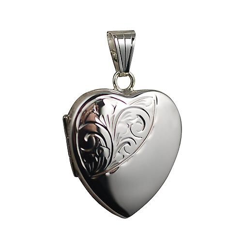 Silver 24x20mm half hand engraved heart Locket