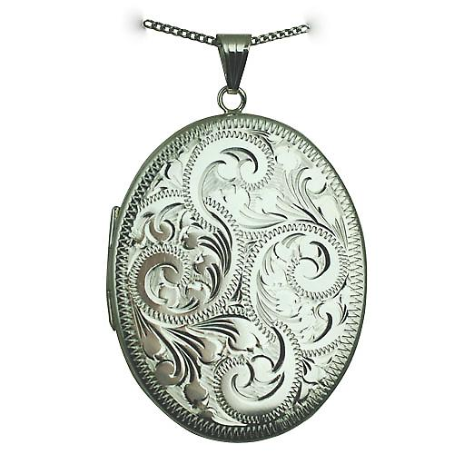 Silver 45x36mm hand engraved flat oval Locket with a curb chain