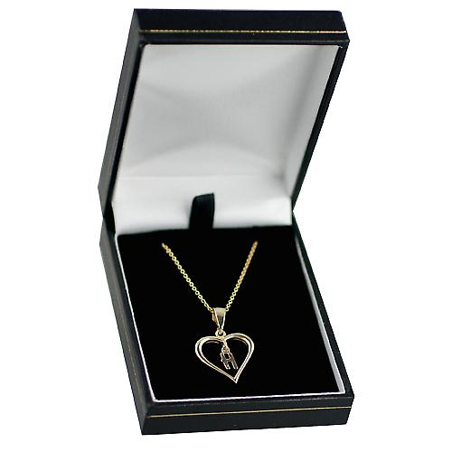9ct Gold 18x18mm initial H in a heart Pendant with a cable Chain 16 inches Only Suitable for Children