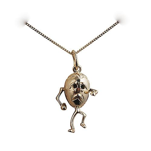 9ct Gold 17x13mm Humpty Dumpty Pendant with a curb Chain 16 inches Only Suitable for Children