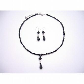 Black Crystals Jewelry Set Swarovski Jet Silver Earrings Necklace Set