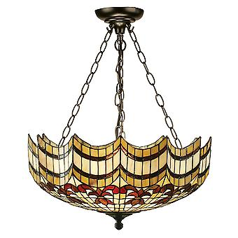 Vesta Large Tiffany Style Inverted Three Light Ceiling Pendant - Interiors 1900 64374