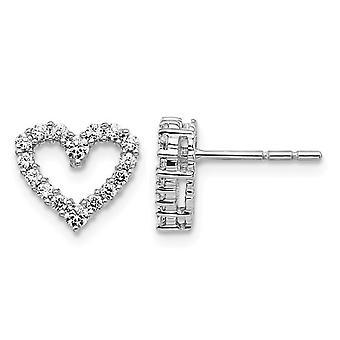 1/2 Carat (ctw) Diamond Heart Earrings in 14K White Gold