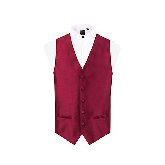 Dobell Mens Burgundy Waistcoat Regular Fit Dupion 5 Button