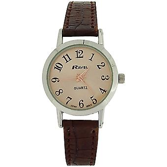 Ravel Ladies Rose goldtone Dial & Brown crocodilo efeito pulseira PU Watch R 0127.02.2