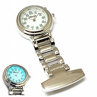The Olivia Collection Backlight White Dial Nurses Fob Watch TOC01