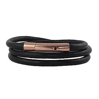 Lederen ketting lederen lint 4 mm heren ketting zwart 17-100 cm lang met hendel print sluiting Rose Gold ronde