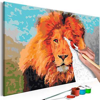 DIY duk målning-lejon