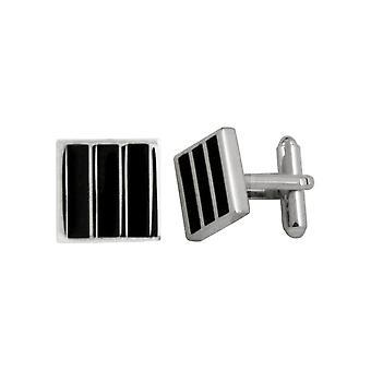 Eternal Collezione Berkeley nero smalto Striped Square Silver Tone Cufflinks