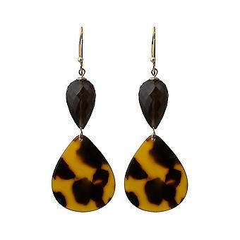 Gemshine earrings gold plated earrings smoked quartz, shield plate / resin