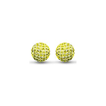 Jewelco London Ladies 9ct Gold Crystal Disco Ball Stud Earrings Lemon Yellow 8mm