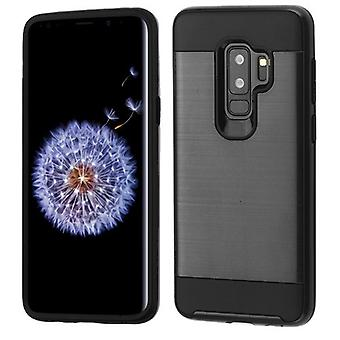 ASMYNA Black/Black Brushed Hybrid Case for Galaxy S9 Plus