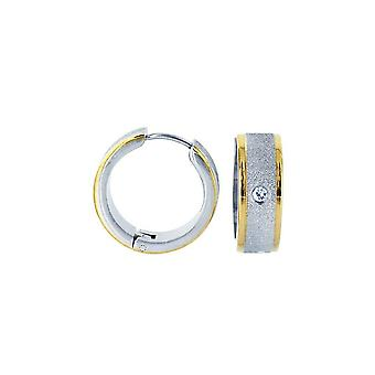 Earrings Iced Out Two Toned Gold Plated Stainless Steel Hoop