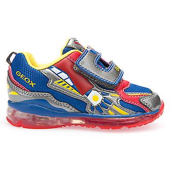Geox Boys Todo Lights Trainers Blue Red Grey