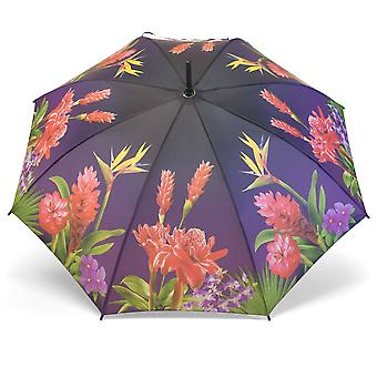 Umbrella stick umbrella motif exotic flowers