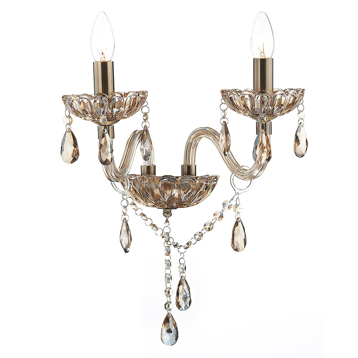 Dar RAP0906 Raphael Double Wall Bracket With Champagne Crystal